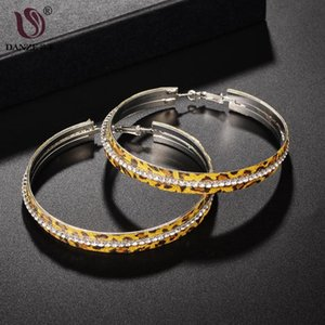 DANZE Fashion Leopard Print Rhinestone Big Circle Wide Hoop Earrings For Women Little Crystal Inlaid Earring Party Gift