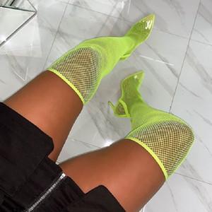 Malha Sexy Sobre O Joelho Mulheres Botas Dedo Apontado Salto Alto Meias Botas de Verão Sandálias Botas Sapatos de Festa Verde Preto