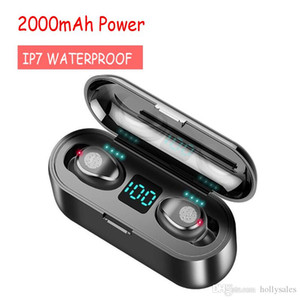 New Bluetooth Wireless Earphone V5.0 F9 TWS Earbuds 8D Stereo Headset LED Display With 2000mah Power Bank Headset LCD DISPLAY