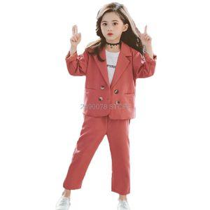 Girls Formal Wedding Suit Kids Jacket+Pants 2pcs Clothing Set Children Birthday Party Performance Costume Female School Blazer