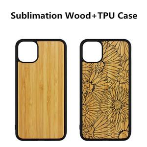 Sublimazione Caso in bianco di legno + TPU per iPhone 11 PRO MAX fai da te iPhone 11 Calore caso Transfer Print personalizzato Design For con nastro biadesivo