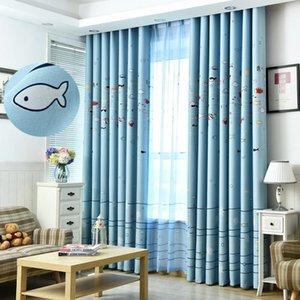 Nettes Fisch-Blau Blackout Vorhänge für Kinder Schlafzimmer Jarl Hauptdekoration Grommet Cartoon Wohnzimmer Kindergarten Fenster Vorhang Panels