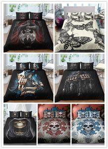 3D Cadılar Bayramı Kafatası baskı Yatak setleri siyah ve beyaz nevresim takımları tek çift kral boyutları