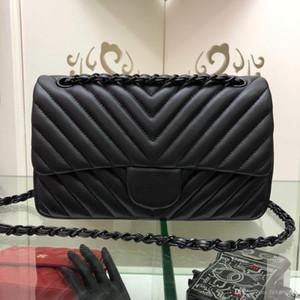 Mensajero diseñador de moda de cadena clásico monedero de los bolsos de las mujeres de alta calidad de la Cruz Body Bags bolso pequeño bolso de cuero genuino de mano Negro