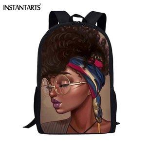 INSTANTARTS Black Queen Artiste épaule Sac à dos Student Design Fille Cartable africaine Casual Mochilas Rucksack Sacs école