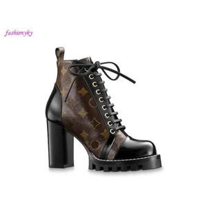 botas de cuero de la estrella popular sendero de moda talón cordones de los zapatos de cuero negro de la parte superior de las mujeres vulcanizado cuadro bootswith 1a2y7w lujo suela