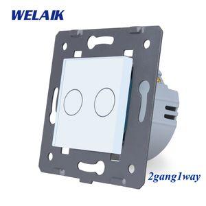 WELAIK EU Wand-Switch-Glas-Verkleidungs-Noten-Schalter DIY-Teile-Screen-Wand-Light-Schalter 2-fach-1way AC250V-A921W T200605