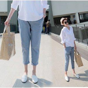 Servizio fotografico pantaloni di maternità primavera e in autunno esterno di usura Cotone Lino Maternity Pants Loose-Fit Capri allentato Harem Le
