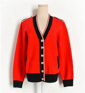 breasted-Single 2020 Nuevo Anuncio otoño invierno V-cuello de las mujeres chaqueta de punto ocasional de la capa de alta calidad de las mujeres suéter de punto de las mujeres rojas Swea