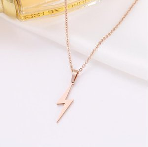 Stainless Steel Necklace Hot Lightning Necklaces For Women Protection Pendants For Girlfriend Gifts Rose Gold Jewelry