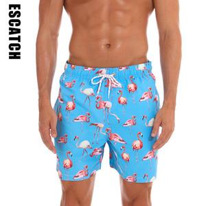 Escatch New Quick Dry Sommer Shorts Herren-Druck-Strand Board Shorts Surf Siwmwear Bermudas Schwimmen für Männer Flamingo Bord Kurz T200612 Drucken