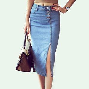 Bonjean Women's Denim Pencil Skirt New Casual High Waist Slim Long Jeans Skirts Women Young Girl Summer Female Falda CX200703