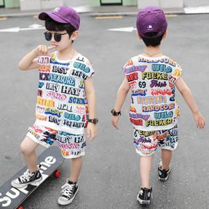 New Casual boys suits Summer 2020 boys tracksuit kids tracksuit letter Vest+shorts 2pcs set kids designer clothes boys clothes B1555