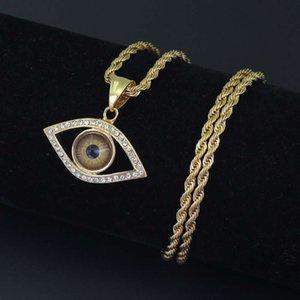 Hip Hop Devil's Eye Anhänger Halsketten für Männer Frauen Diamanten Evil Eye Luxus Halskette Edelstahl kubanischen Ketten Retro-Schmuck