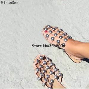 Preto Brown Leather Praia Sandals mulas mocassim Rivet Crystal Pearl Studded Chinelos Mulheres Plano Slides Caged sapatos Plus Size 13 Y200423