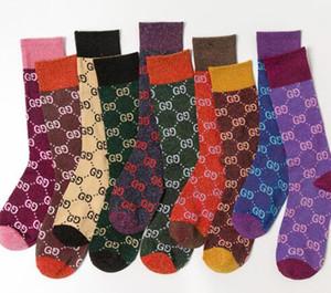 Hommes automne Söcking femmes chaussettes concepteur nouveau bonbon couleur lettre tas tas chaussettes mode féminine multicolore coton sauvage