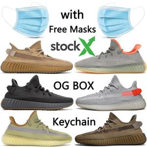con Máscara libre de la escoria Oreo Tierra Desert Sage Kanye mens v2 zapatos de diseño de lino de lino Marsh cola para mujer ligero zapatillas de deporte corrientes