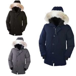 Jacket Canadá Inverno Fourrure de Down Parka Homme Chaquetas Casacos Big Fur com capuz Fourrure Manteau Canadá Down Jacket Brasão Hiver Doudoune