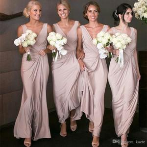 Simple barato atractivo de la envoltura vestidos de dama de manga larga de cuello en V profundo de longitud de criada del vestido de novia Vestidos de visitantes