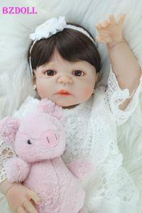 BZDOLL de corps en silicone pleine Réincarné fille Baby Doll Toy Lifelike Vinyle Princesse Toddler Doll cadeau d'anniversaire Fille Brinquedos Y191213
