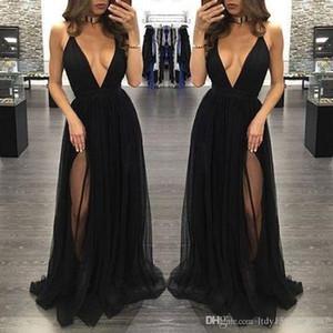 겸손한 높은 패션 블랙 섹시 댄스 파티 딥 V - 넥 등이없는 사이드 분할 등이없는 Tulle 드레스 저녁 착용 레드 카펫 가운 1064