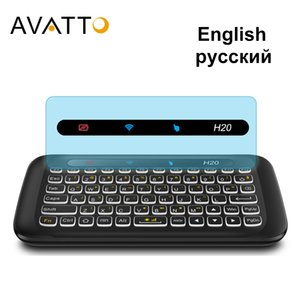 AVATTO English H20 Full Touchpad Backlit Mini Keyboard with 2.4G Wireless IR Remote Control for Smart TV Android Box PC