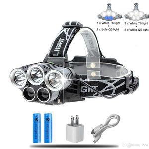 Azul blanco del USB 5 LED lámpara de faro faro cabeza T6 Q5 15000 lúmenes linterna potente llevó la lámpara de cabeza de la antorcha