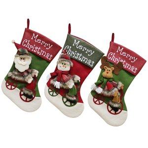 Big Christmas Stocking 18 '' Xmas calze di Natale carattere Santa Snowman Renna 3D peluche Stocking Xmas Tree Decorations JK1910
