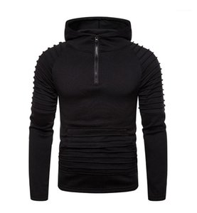 Fino sólido Mens cores Hoodies Moda Zipper Hoodies machos Roupa plissada Patchwork Mens Designer Hoodies Casual