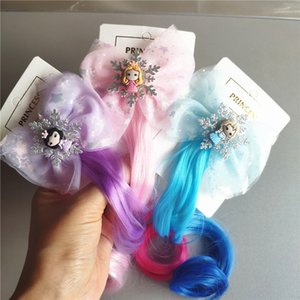 Çocuk Yapay saç şapkaya partisi Renk Peruk Parti Favor T2I51067 için 3 renk Güzel prenses yay saç tokası Cosplay sahne