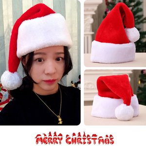 Chapéu de Santa do inverno quente Ornament Xmas Hat Christmas Christmas-High Grade Plush Adulto Hat espessamento Big Ball macio Plush Decoração BH2439 CY