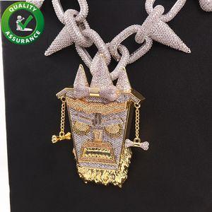 Iced Out Pingente de Luxo Designer de Jóias Mens Colar De Corrente De Prata Hip Hop Diamante Pingentes de Rei Hiphop Rapper Link Cubano Acessórios Presente