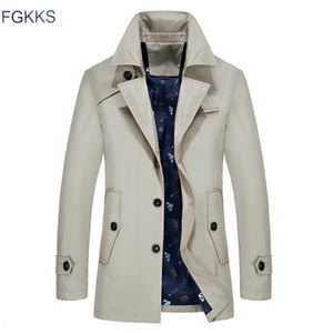 FGKKS hommes Trench Veste Homme Automne Mode Marque Slim Fit Solide Couleur revers long Pardessus Trench Casual Male CJ191118