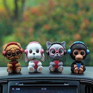 Hot Cute Resin Car Dashboard Doll Cat Dog Shaking Head Dashboard Decoration Car Ornament Accessories for Women Girls Toys
