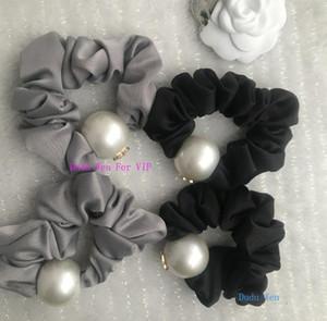 Nouveau noir ou gris mode C perle cravate cheveux corde de cheveux de luxe pour accessries cheveux concepteur de perles avec un cadeau de fête carte parper