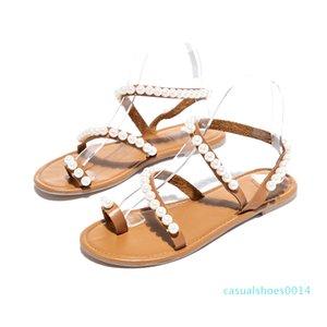SHUJIN Женские сандалии летняя обувь плоские жемчужные сандалии удобные струнные бисерные тапочки женские повседневные сандалии mujer C14