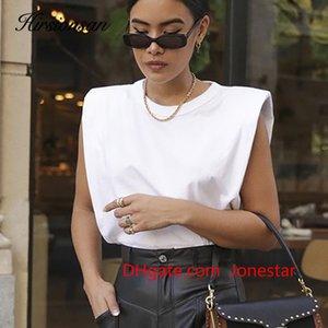 Hirsionsan Summer Sleeveless T Shirts Women 2020 New Hot Elegant Cotton Tees Ins Design Chic Solid Brown Khaki Tops vest