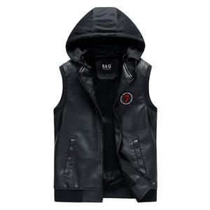 erkekler için deri yelek erkekler Yeni Sonbahar Kış Sıcak Kolsuz Ceket Yelek Erkek Yelek Moda Günlük Kalın sıcak yelek