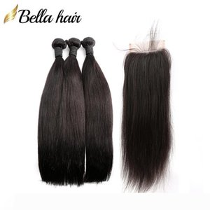 4PCS Full Head Hair Bundles With Closure Brazilian Remy Virgin Human Hair Wefts Extensions 3PC+1PC Lace Closure 4x4 Straight 8A Bellahair