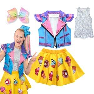 4-12 Years JOJO Siwa Set Girls Full Sleeveless Jacket Vest Dress Hair Clip Girls Cosplay Costume Clothing Jojo Siwa Suit Clothes