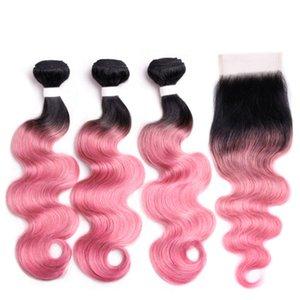 Silanda волос Ombre Цвет окрашенная #T 1B / Rose Pink Body Wave Remy человеческих волос ткачество Связки С 4X4 шнурка Закрытие Бесплатная доставка