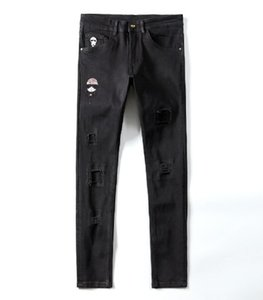 18SS Nuovo marchio fendi FF Jeans fending men Denim Dritto Biker Skinny jeans ff Pantaloni casual Cowboy Famous Brand FF Zipper Designer Vendita calda fending women Jeans Designer