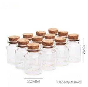 15 ml 30 * 40 * 17mm Mini botellas Transparencia vidrio con corcho vacío tarros Crafts botellas claras 50pcs / lot liberan la SN2084