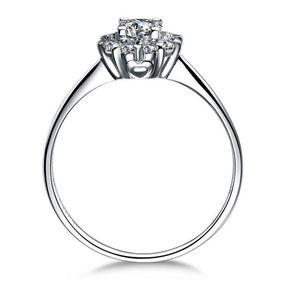 Key4fashion 100% plata de ley 925 14k oro blanco plateado 1ct Princess Cut SONA Simulado Diamante Anillos de compromiso mujeres, plata fina