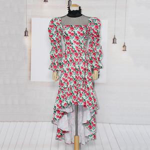 2020Luxury Designer Printed temperament women's dress polka dot perspective stand collar bubble sleeve high waist irregular long women