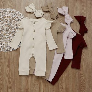 Newborn Infant Kid Baby Girl Boy 2Pcs Autumn Clothes Set Knitted Romper Jumpsuit Outfits Ruffles Long Sleeve Pure Color Clothes
