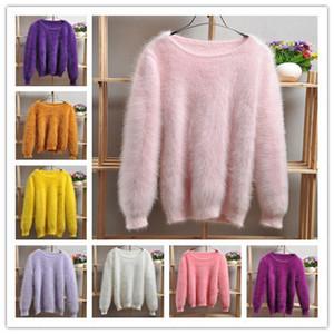 Elegante damas de moda Mujeres felpa cálida angora tejida Jersey cuello redondo Suéter de mujer suéter de cachemir de visón genuino