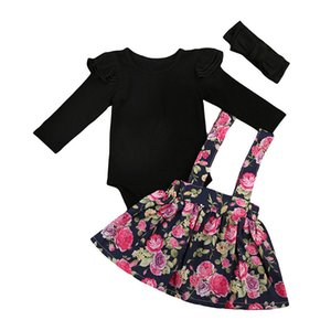 Special Exported European And American Children's Clothing Small Fly Sleeve Spring And Autumn Cotton Floral Strap Dress + Hair B