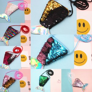 Sequins mermaid lanyard small wallet children's Messenger coin bag diagonal small bag fish tail two-color sequins coin purse female