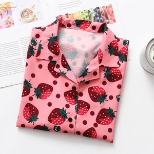 Korean Style Women Clothes 2019 Fashion Streetwear Short Sleeve Strawberry Printed Turn Down Collar Shirts Casual Loose Cardigan